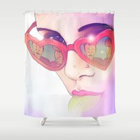 lolita Shower Curtains featuring Lolita by Camila Fernandez
