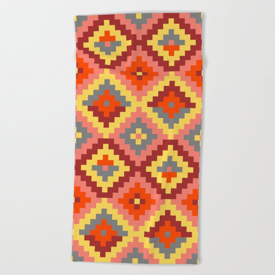 Aztec pattern - brown, rose, yellow Beach Towel