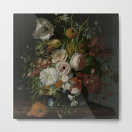 Rachel Ruysch - Still life with flowers in a glass vase (1690-1720) Metal Print