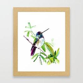 Hummingbird and Green Foliage, tropical green design Framed Art Print