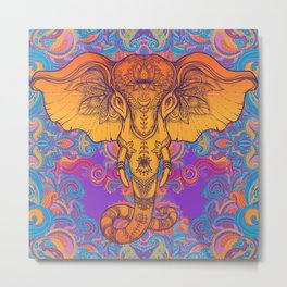 Orange Ganesha Metal Print