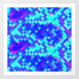 Blue Purple Bright Square Pattern Art Print