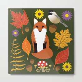 Fox, Autumn Woodland Leaf Print Metal Print