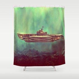 Golden Pirate Submarine Shower Curtain