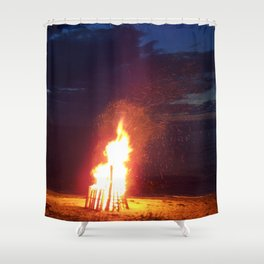 Blazing Beach Bonfire Shower Curtain