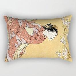 Woman & Cherry Blossoms #2 Rectangular Pillow