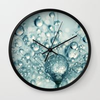 sparkles Wall Clocks featuring Droplets & Sparkles by Sharon Johnstone