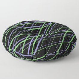 Minimalist Purple and Green Geometric Criss Cross Lines on Black Background Floor Pillow