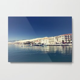 White and dark blue Metal Print