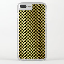 Black and Gold Checkerboard Weimaraner Clear iPhone Case