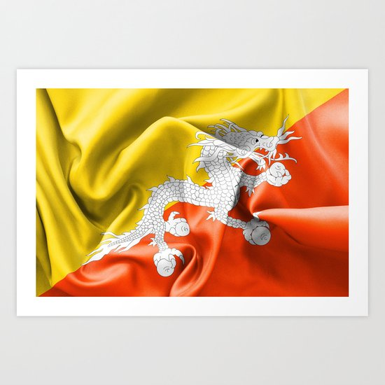 Bhutan Flag Art Print