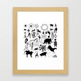 Cave paintings - primitive art Framed Art Print