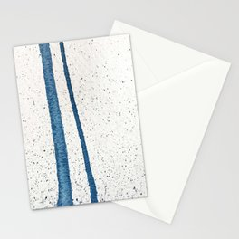Parallel Universe [vertical]: a pretty, minimal, abstract piece in lines of vibrant blue and white Stationery Cards