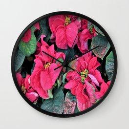 Poinsettias and Glitter Wall Clock