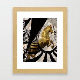 the golden horse with fractal background Framed Art Print