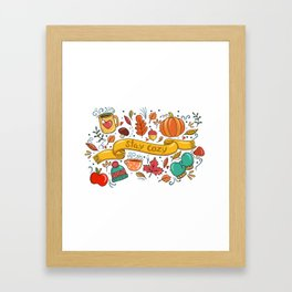 Stay Cozy in Autumn Framed Art Print
