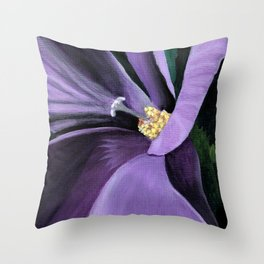 Purple Flower at Midnight Throw Pillow