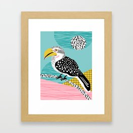 What - memphis tropical retro neon throwback 1980s 80s style hipster abstract bird vacation nature Framed Art Print