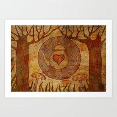 Tea, Hearts, Mushrooms, Trees Art Print