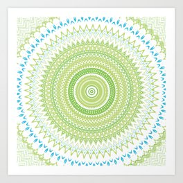 Blue Green Mandala Art Print