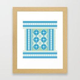 T pattern (blue) Framed Art Print