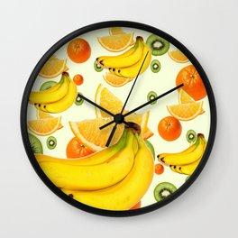 TROPICAL BANANAS-KIWI-ORANGES KITCHEN  ABSTRACT ART Wall Clock