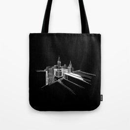 Vibrant City Black Background Tote Bag