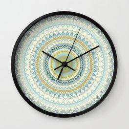 Light Yellow Aqua Mandala Wall Clock