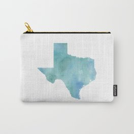 Watercolor State Map - Texas TX blue green Carry-All Pouch