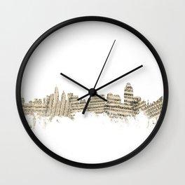 Cincinnati Ohio Skyline Sheet Music Cityscape Wall Clock