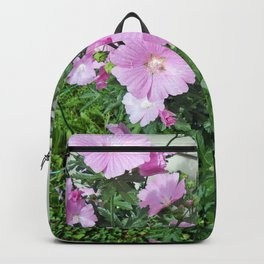 Pink Musk Mallow Bush in Bloom Backpack