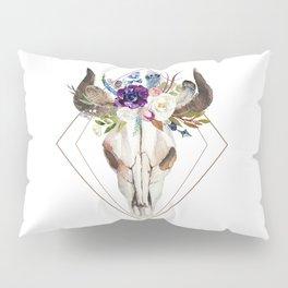 Modern geometric tribal floral bull skull Pillow Sham