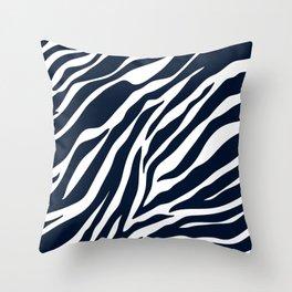 Navy blue zebra print Throw Pillow