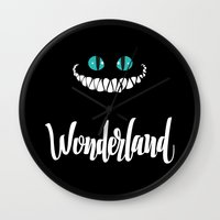 alice in wonderland Wall Clocks featuring Wonderland by Insait