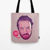 rick grimes Tote Bags featuring The Walking Dead - Rick Grimes by Mike Wrobel