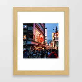 Dontonbori Crowds in Osaka, Japan Framed Art Print