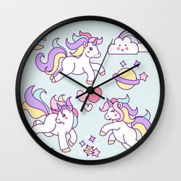 Sketches of unicorn with lovely elements Wall Clock