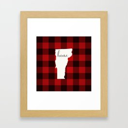 Vermont is Home - Buffalo Check Plaid Framed Art Print
