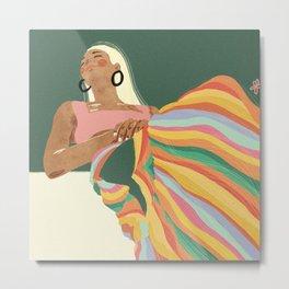 Rainbow Lady Metal Print