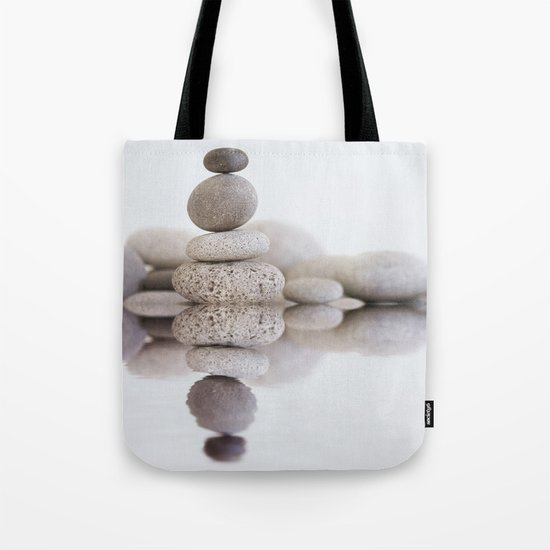 Stone Balance pebble cairn and water Tote Bag