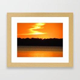 Sunset over lake June Florida Framed Art Print
