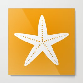 Starfish (White & Orange) Metal Print