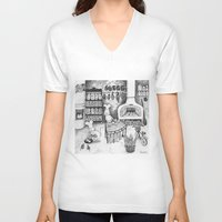 baking V-neck T-shirts featuring Baking Cats by Ulrika Kestere