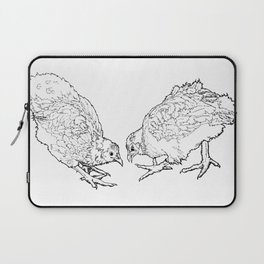 Two Chickens Pecking - Pen and Ink Laptop Sleeve