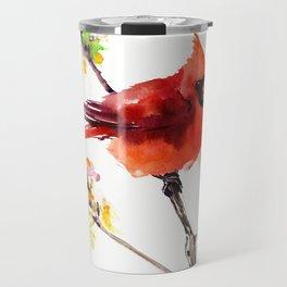 Cardinal Bird in Spring Travel Mug