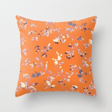 floral vines - orange and purple Throw Pillow