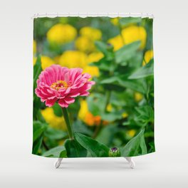 Pink flower, in green and yelow Shower Curtain