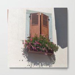 Alpine Village Window Flower Box Metal Print