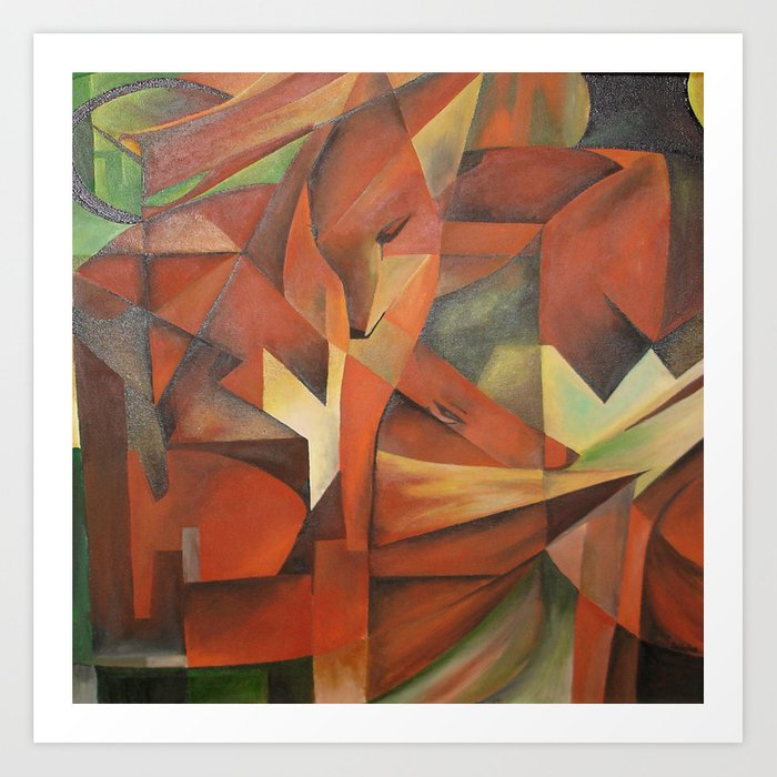 Foxes - Homage to Franz Marc (1913) Art Print