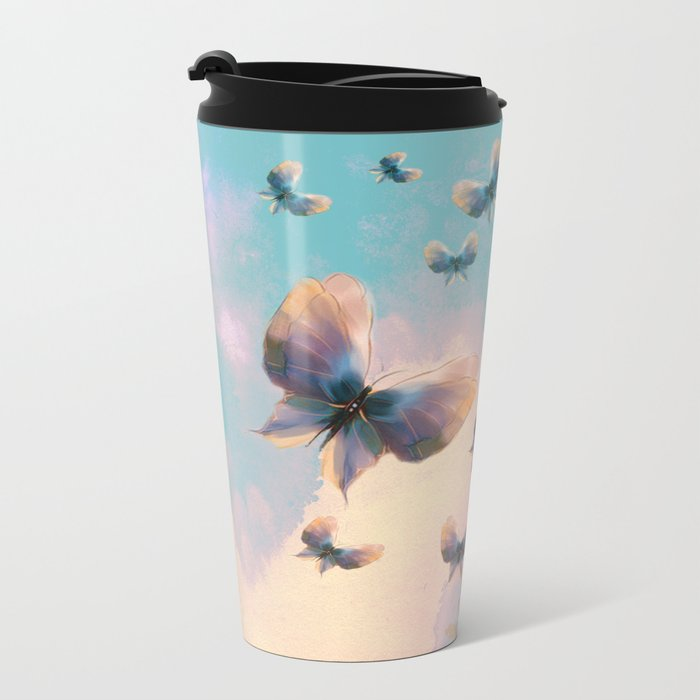 Happiness is a butterfly Metal Travel Mug